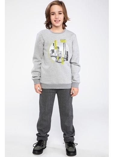 DeFacto Şehir Baskılı Sweatshirt Gri